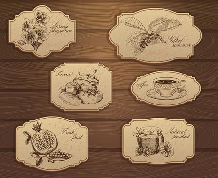 Tiquettes vintage set. Illustrations dessinées à la main. Fond en bois avec des croquis Banque d'images - 31574286