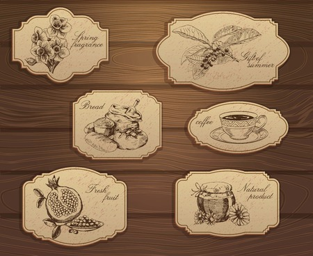 label: Vintage labels set. Hand drawn illustrations. Wooden background with sketches