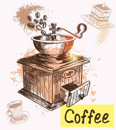 coffee grinder: coffee time. Hand drawn illustrations. Vector sketch