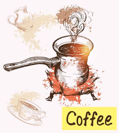 non alcohol: la hora del caf�. Ilustraciones dibujadas a mano. Vector el bosquejo Vectores