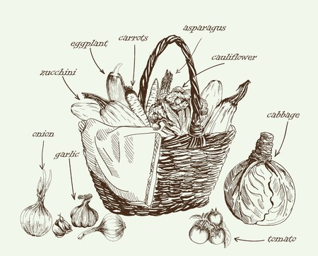 vegetable basket: set of vector icons on the theme of vegetables