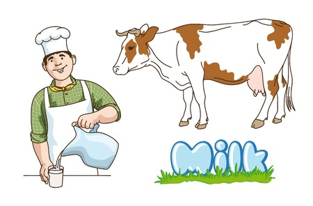 milking: dairy production.  hand drawn illustrations. vector