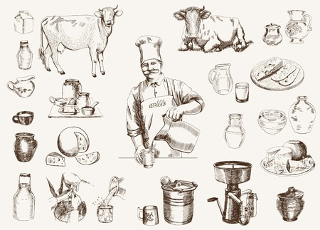milk pail: dairy production.  hand drawn illustrations. vector