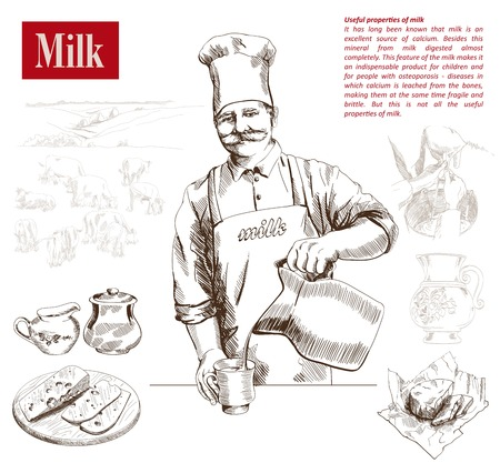 milker: dairy production.  hand drawn illustrations. vector