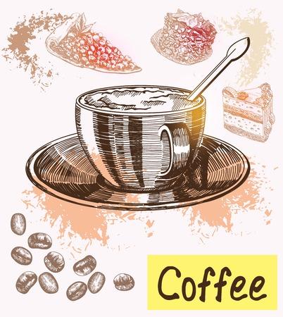 non alcohol: tiempo del caf� Vectores
