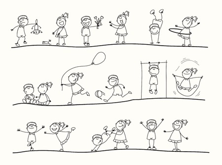 Serie di illustrazioni di bambini raffigurato nel processo di gioco Archivio Fotografico - 32498775