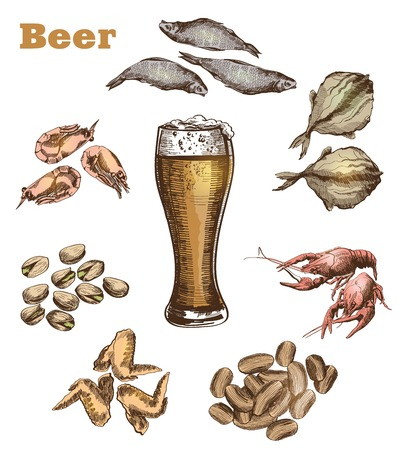 cancers: vector sketch of a pint of beer, made by hand