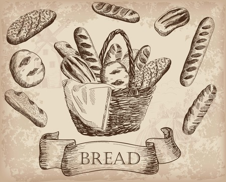 loaf of bread: bakery products. set of vector sketches. hand drawn illustrations