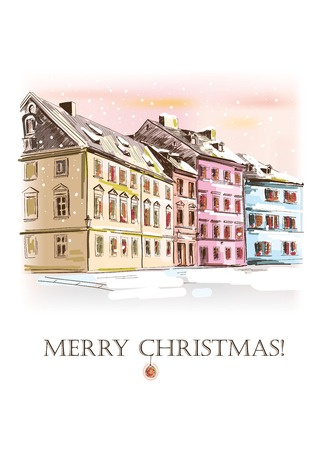 victorian christmas: New Years and Merry Christmas card handmade Illustration