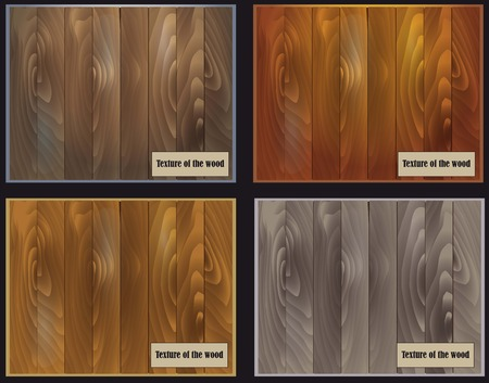 surfaces: set of four samples of the structure of wood surfaces with a variety of colors