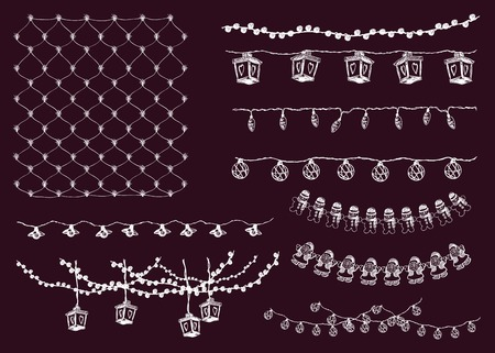 strings: festive lighting. garlands. set of vector elements Illustration