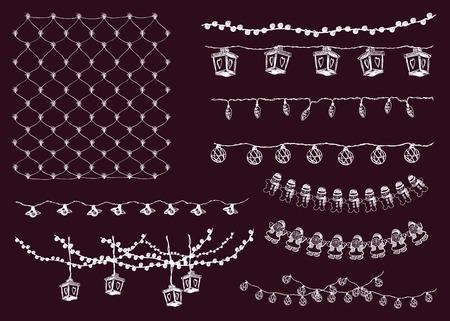 string of christmas lights: festive lighting. garlands. set of vector elements Illustration