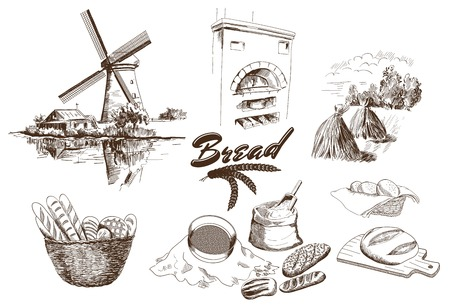 flour mill: bakery products. set of vector sketches. hand drawn illustrations