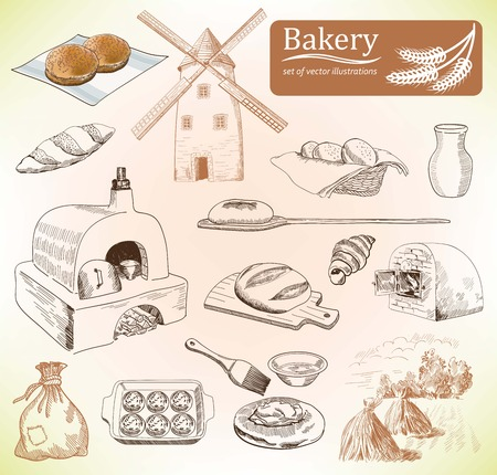 wheaten: bakery products. set of vector sketches. hand drawn illustrations