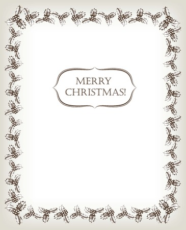 merry mood: New Years and Merry Christmas card handmade Illustration