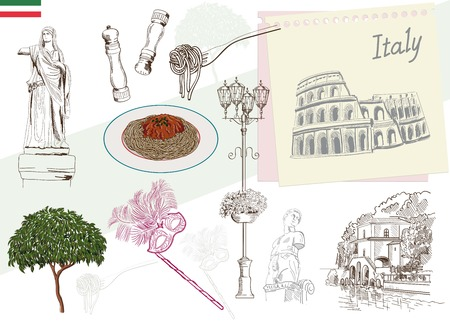 pizza place: historic sites and attractions of Italy. handmade illustration