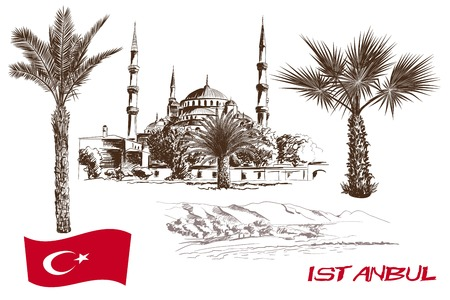 historic sites: historic sites and attractions of Istanbul. handmade illustration Illustration