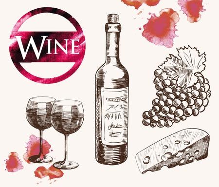old wine tasting. handmade watercolor sketch set