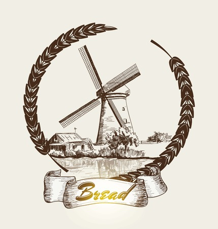wheaten: Old Mill. vector sketch. hand drawn illustrations
