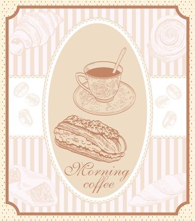 eclair: light breakfast of strong coffee and dessert. vector illustration Illustration
