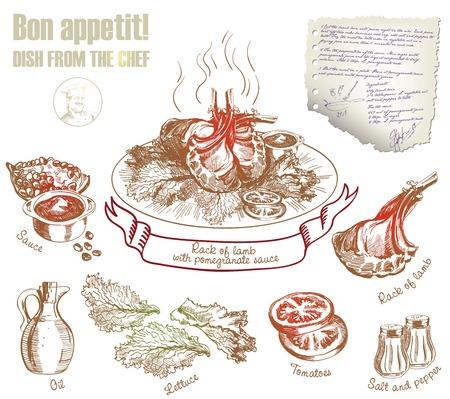 piatto finito e suoi ingredienti costituenti. illustrazione vettoriale