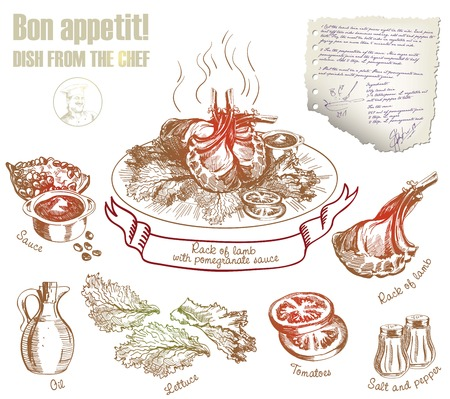 finished dish and its constituent ingredients. vector illustration