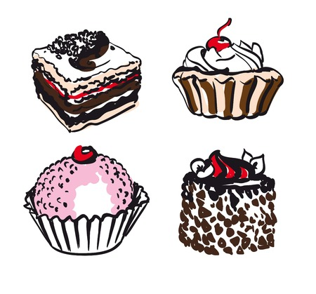 eclair: confectionery. set of vector sketches on white background