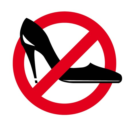 no heels: womens shoes on a background of the prohibitory sign. vector icon on white background Illustration