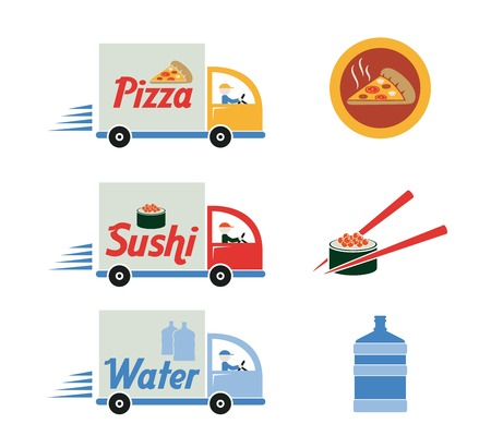 forwarder: Free delivery service. vector black icons on white background