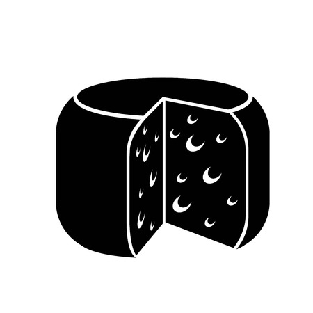 swiss cheese: Cheese icon. vector black icon on white background