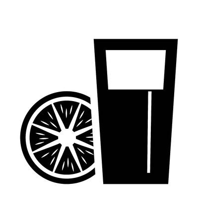 non alcohol: jugo fresco. vector iconos negros sobre fondo blanco