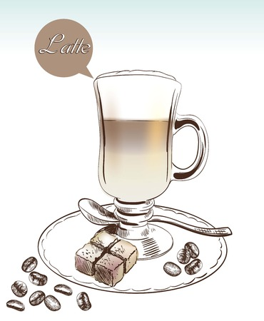 latte art: coffee time. Hand drawn illustrations. Vector sketch