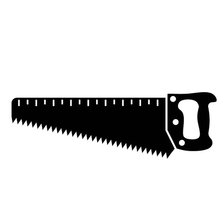security token: Hand hacksaws for wood. vector black icon on white background