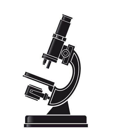 microscope. vector black icon on white background Vector