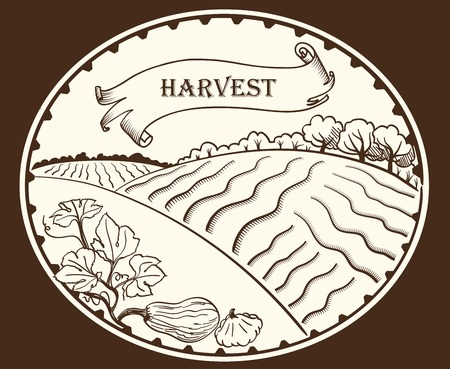 farmland: farmland. vector black illustration on white background
