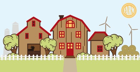 farmland: vector color farm and farmland flat illustration