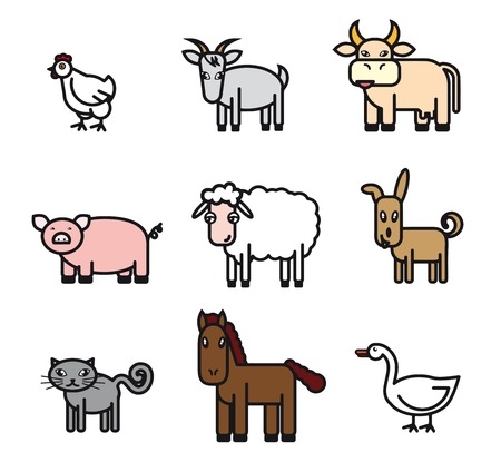 piglets: farm animals. set of colored vector icons on a white background