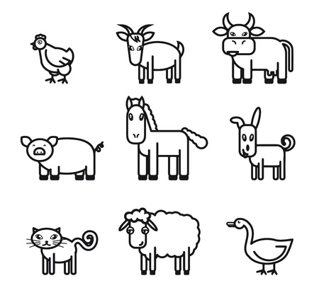piglets: farm animals. set of black vector icons on a white background