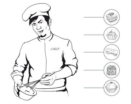 confectioner: man confectioner during cooking culinary masterpiece vector illustration