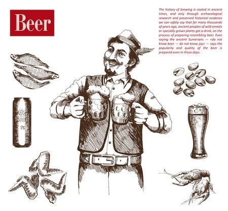 brewer: feliz cervecera tiene dos jarras de cerveza Vectores