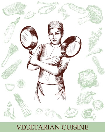folded hands: woman chef posing with folded hands vegetables background