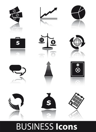 recurrence: business vector black icon on white background