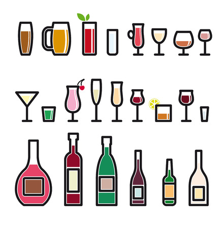 non alcoholic beer: glassware vector colored icons on a white background Illustration