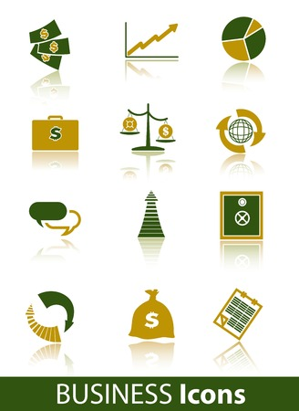 recurrence: business vector colored icons on a white background Illustration
