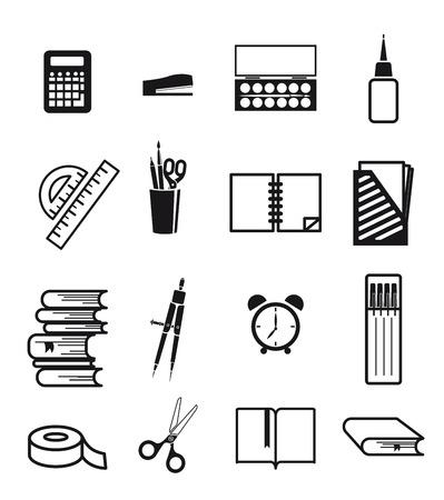 innovator: stationery. vector black icon on white background Illustration