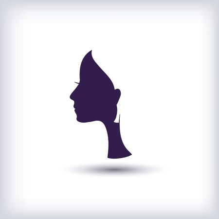 facial features: silhouette of a female head illustration on a white background Illustration