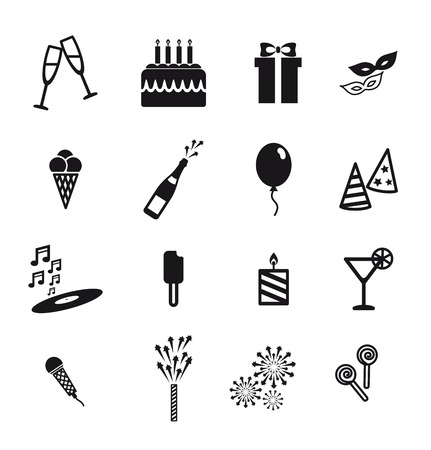 attributes: attributes of a holiday  black icons on white background
