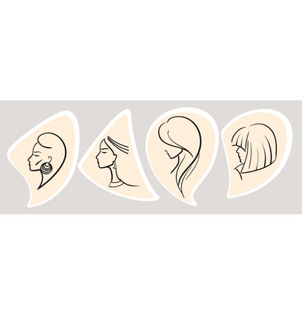 facial features: silhouette of a female head illustration on a grey background