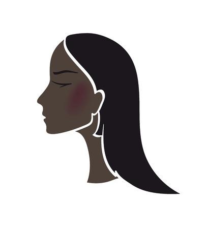 cabeza femenina: silueta de una ilustraci�n cabeza femenina sobre un fondo blanco