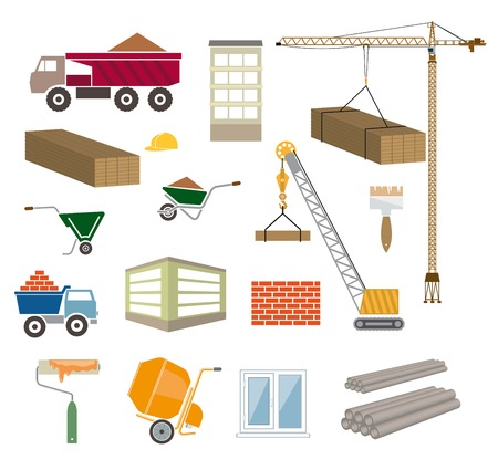 accident prevention: construction of buildings colored icons on white background Illustration